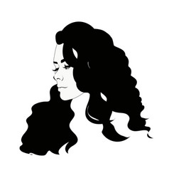 silhouette of female head black and white vector image