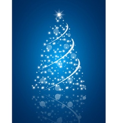 Simple christmas tree on blue background vector image