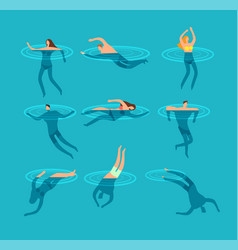 swimming and diving people in swimming pool vector image