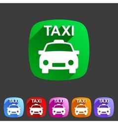 taxi car icon flat web sign symbol logo label vector image