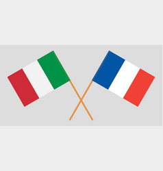 The crossed france and italy flags vector