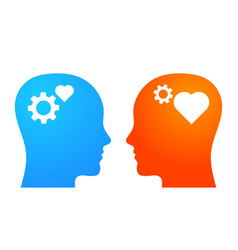 Thinking vs feeling emotional and rational vector