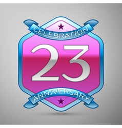 Twenty three years anniversary celebration silver vector