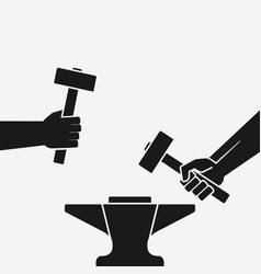 Two hands with hammers above anvil vector