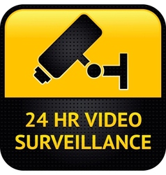 Video surveillance symbol punched metal surface vector image