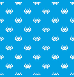 viking helmet pattern seamless blue vector image