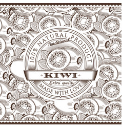 Vintage kiwi label on seamless pattern vector