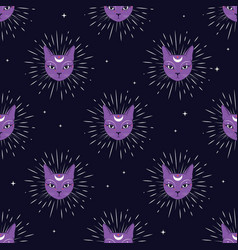 Violet cat face with moon on night sky seamless vector
