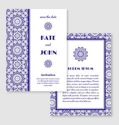 Wedding invitation greeting card with mandala vector