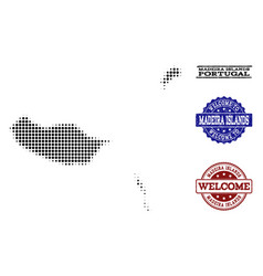 Welcome collage of halftone map of madeira islands vector