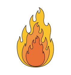 White background with flame in closeup with thick vector