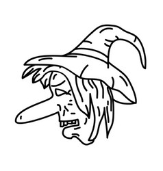 Witch hat icon doodle hand drawn or black outline vector