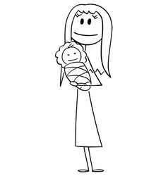 Woman or mother holding new born baby in hands vector