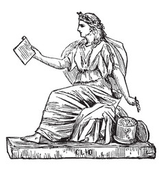 Woman sculpture a woman holding a writing vector