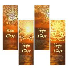 yoga banner set with mandala vector image vector image