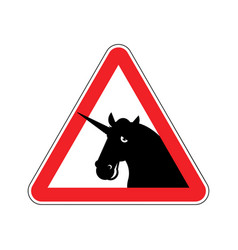 attention unicorn dangers of red road sign lgbt vector image vector image
