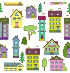 Background with colorful houses vector image