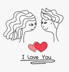 cards of cute couple vector image