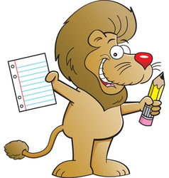 Cartoon Lion Holding a Paper and Pencil vector image vector image