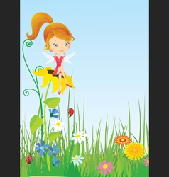 Fairy on the flower vector image vector image