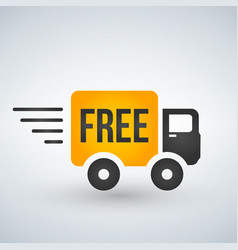 fast and free shipping delivery truck flat icon vector image