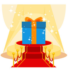 gift on red carpet vector image vector image