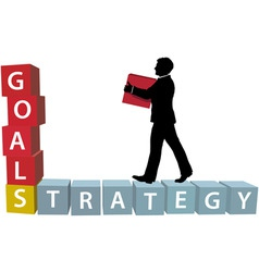 goals strategy man builds business blocks vector image vector image