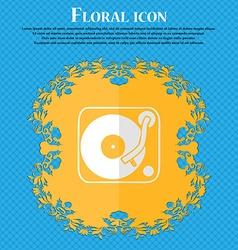 Gramophone vinyl Floral flat design on a blue vector image