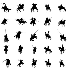 Knight and horse silhouette set vector image vector image