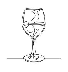 wine glass continuous line vector image vector image
