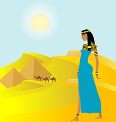 Egyptian background with ancient woman and vector image