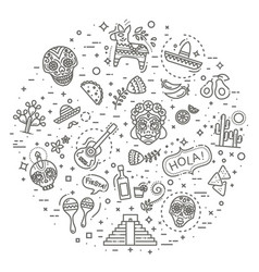 mexican culture icons set day of the dead vector image vector image