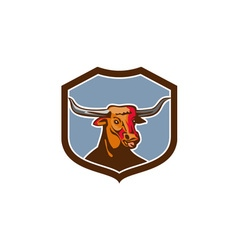 Texas Longhorn Red Bull Shield Retro vector image