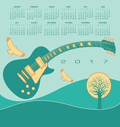 2017 calendar Guitar landscape vector image