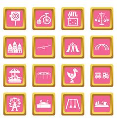 amusement park icons pink vector image