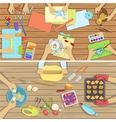 Children Craft And Cooking Class Two vector image
