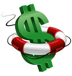 dollar sign in lifebuoy vector image vector image