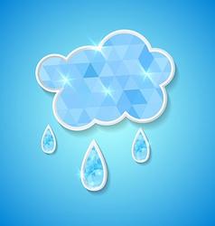 hexagonal cloud with rain drops vector image