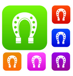 horse shoe set collection vector image vector image
