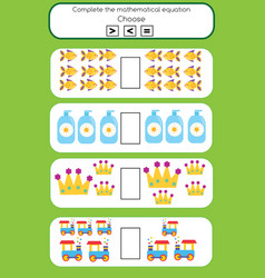 math educational game for children complete the vector image vector image