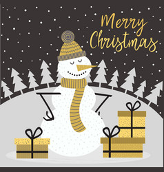 merry christmas gold card with snowman vector image
