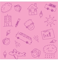 Pink school kids doodle art vector image vector image