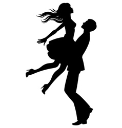 Silhouette of couple in love vector image