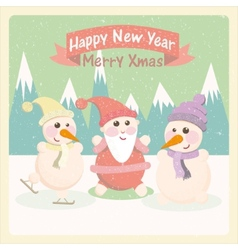 Vintage of a snowman and Santa Claus among the vector image