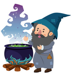 wizard and magic brew on white background vector image