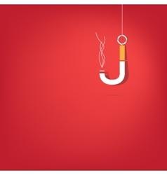 Cigarette fishhook on white vector image