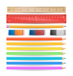 colored pencils eraser measuring ruler isolated vector image vector image