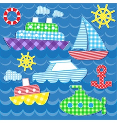 sea transport stickers vector image vector image