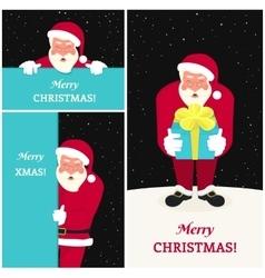 Set of three smiling Santa Claus greeting card vector image vector image