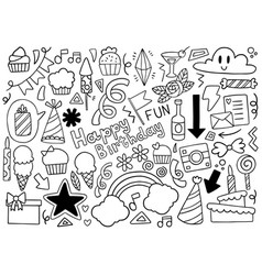 0040 hand drawn party doodle happy birthday vector